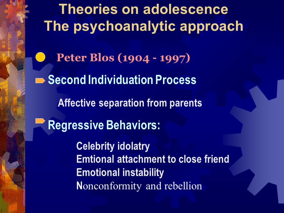 Theories on adolescence The psychoanalytic approach Peter Blos (1904 - 1997) Second Individuation Process Affective separation from parents Regressive Behaviors: Celebrity idolatry Emtional attachment to close friend Emotional instability N onconformity and rebellion