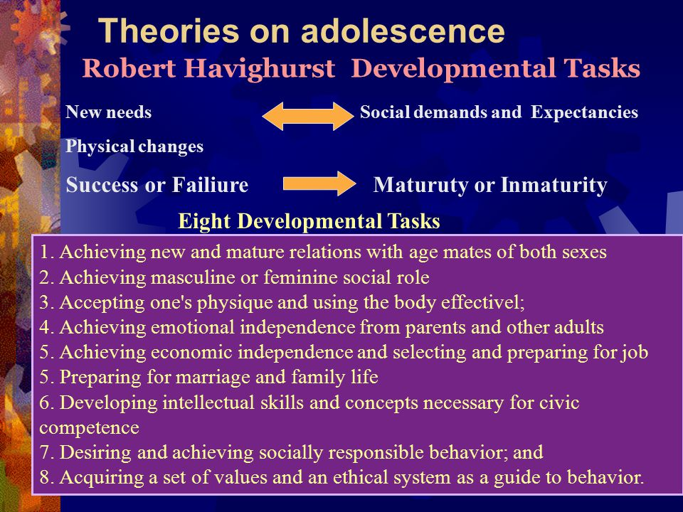 Theories on adolescence Robert Havighurst Developmental Tasks New needs Social demands and Expectancies Physical changes Success or Failiure Maturuty or Inmaturity 1.