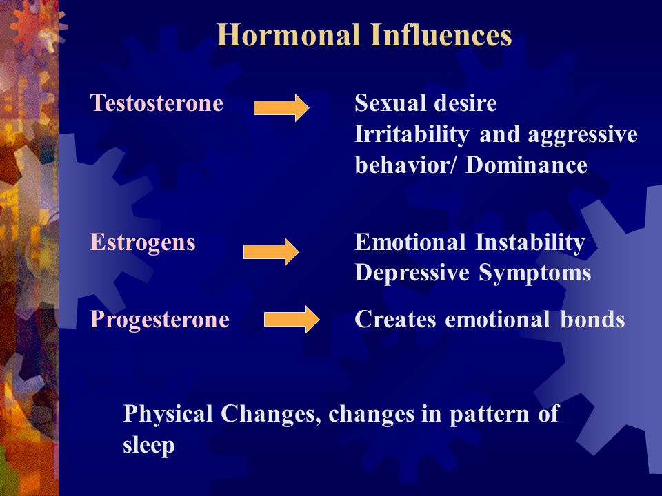 Hormonal Influences TestosteroneSexual desire Irritability and aggressive behavior/ Dominance EstrogensEmotional Instability Depressive Symptoms ProgesteroneCreates emotional bonds Physical Changes, changes in pattern of sleep