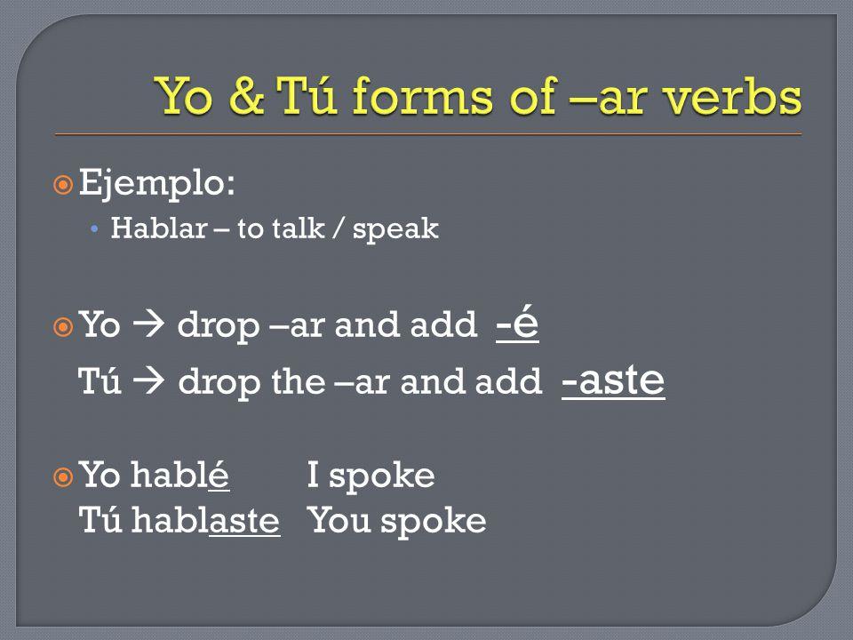  Ejemplo: Hablar – to talk / speak  Yo  drop –ar and add -é Tú  drop the –ar and add -aste  Yo habléI spoke Tú hablasteYou spoke