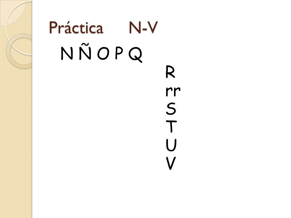 Práctica N-V N Ñ O P Q R rr S T U V