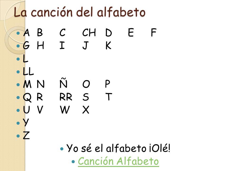 La canción del alfabeto ABCCHDEF GHIJK L LL MNÑOP QRRRST UVWX Y Z Yo sé el alfabeto ¡Olé! Canción Alfabeto