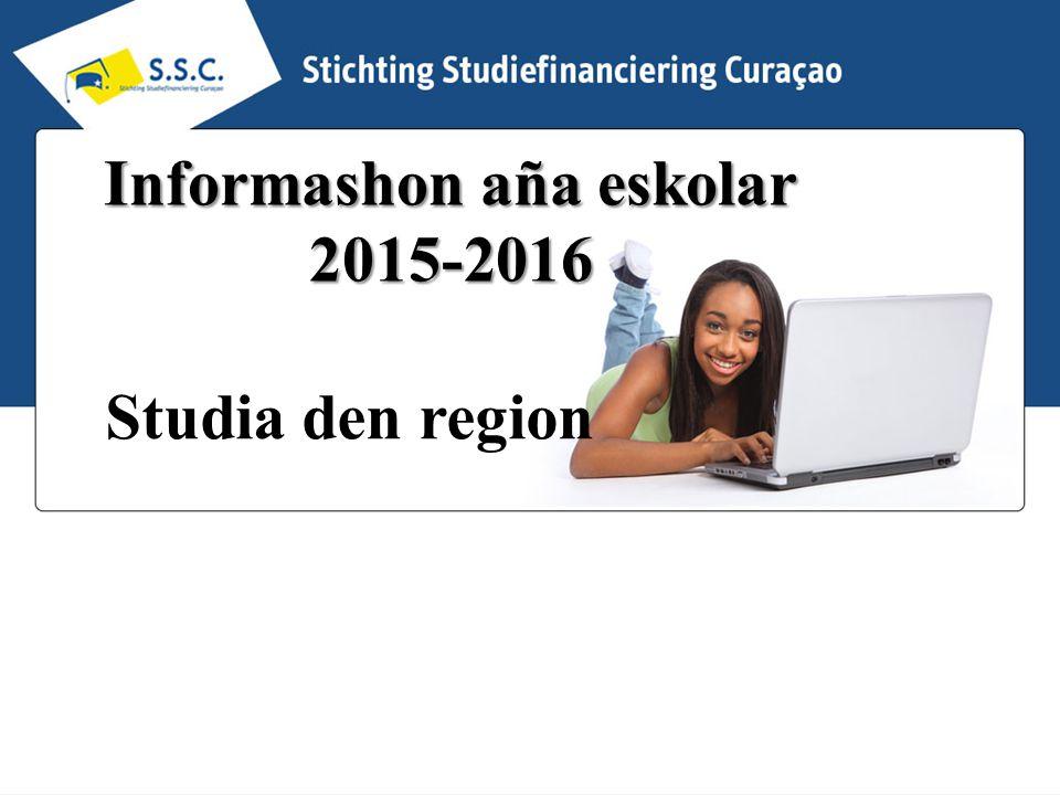 Informashon aña eskolar 2015-2016 Studia den region