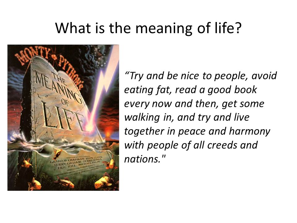 What is the meaning of life.