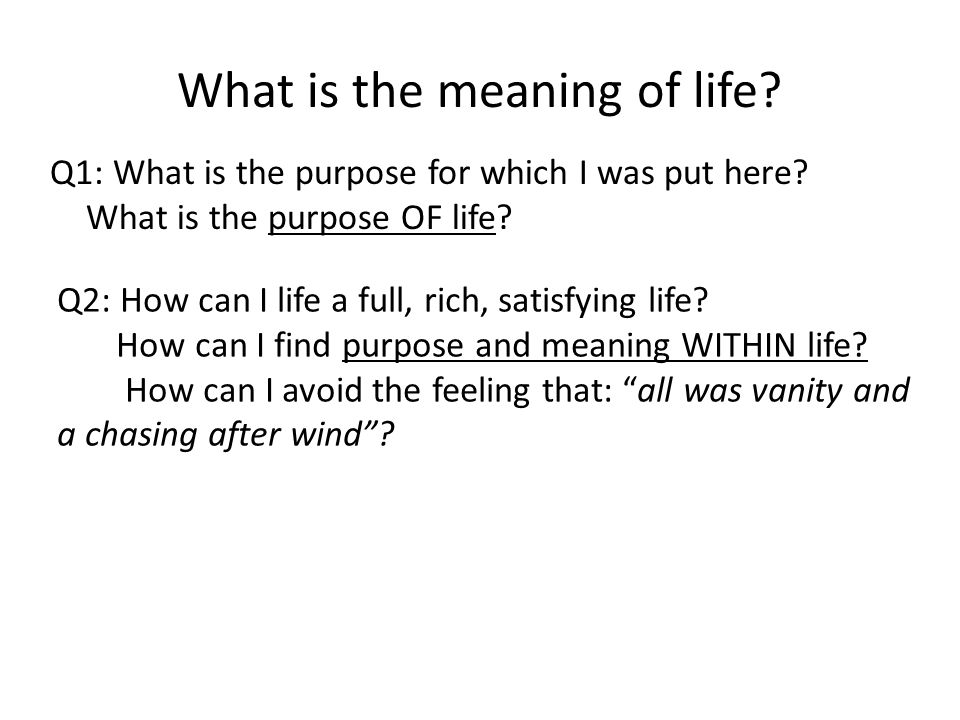 What is the meaning of life.Q1: What is the purpose for which I was put here.