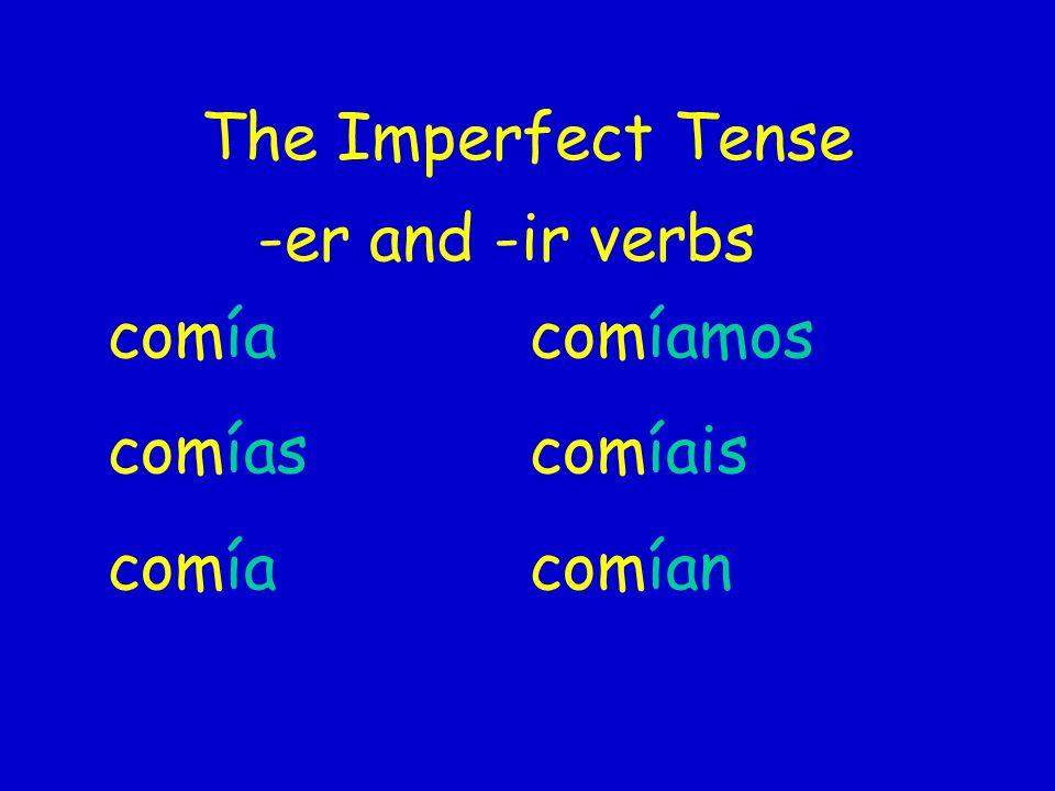 The Imperfect Tense -er and -ir verbs comía comíamos comíascomíais comíacomían