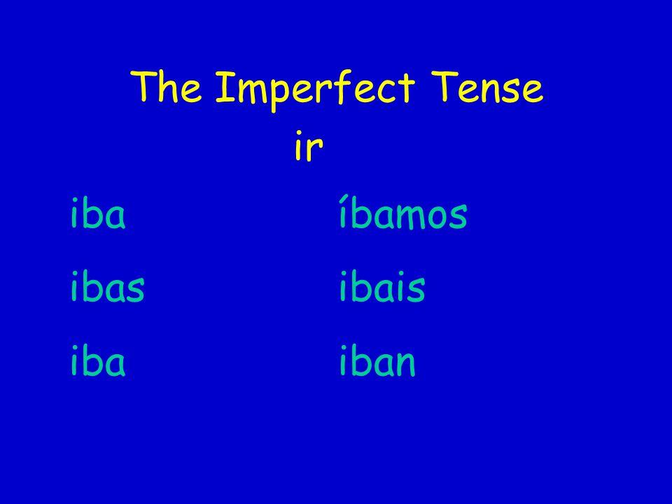 The Imperfect Tense ir iba íbamos ibasibais ibaiban