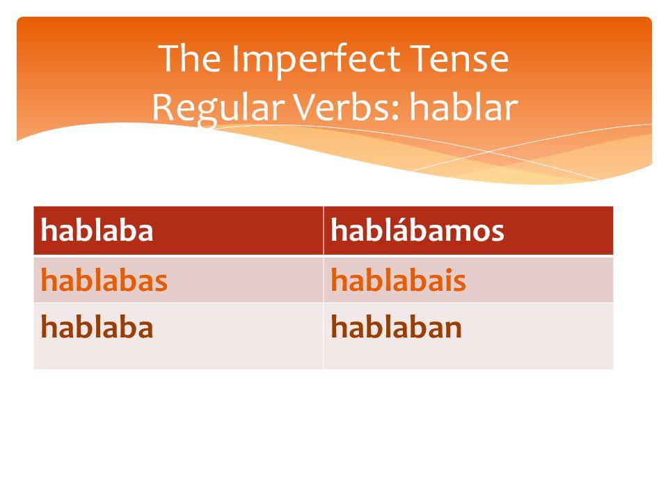 hablabahablábamos hablabashablabais hablabahablaban The Imperfect Tense Regular Verbs: hablar