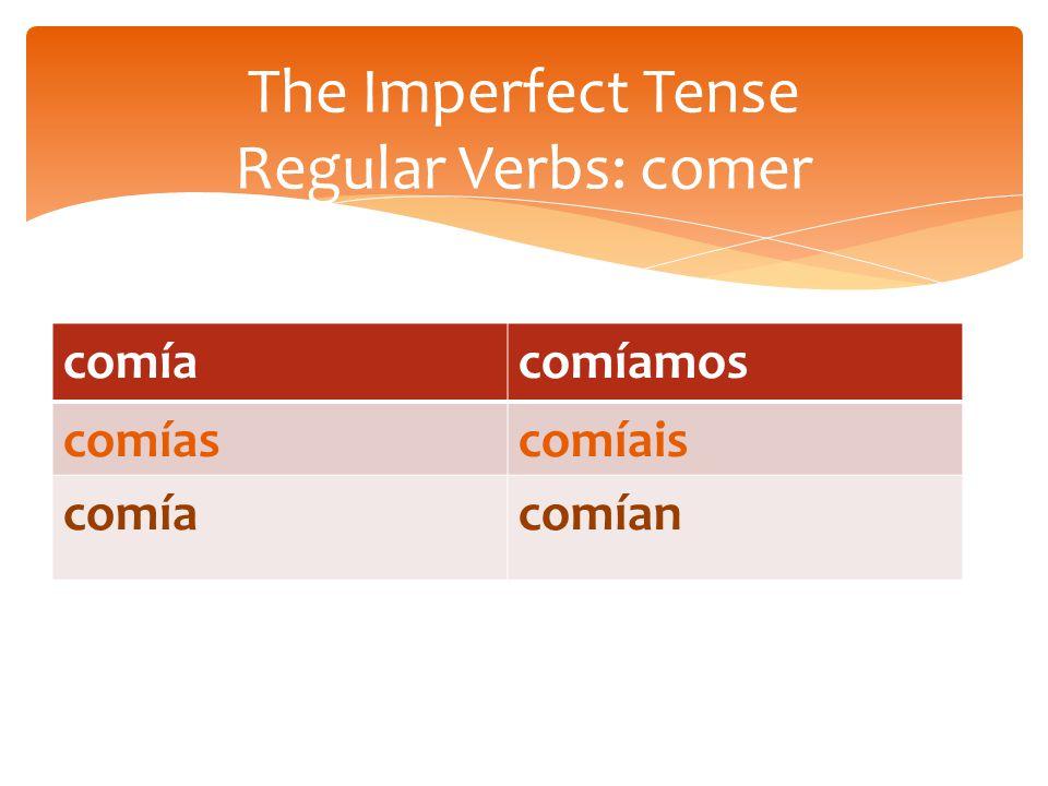 comíacomíamos comíascomíais comíacomían The Imperfect Tense Regular Verbs: comer