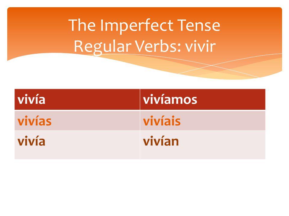 vivíavivíamos vivíasvivíais vivíavivían The Imperfect Tense Regular Verbs: vivir