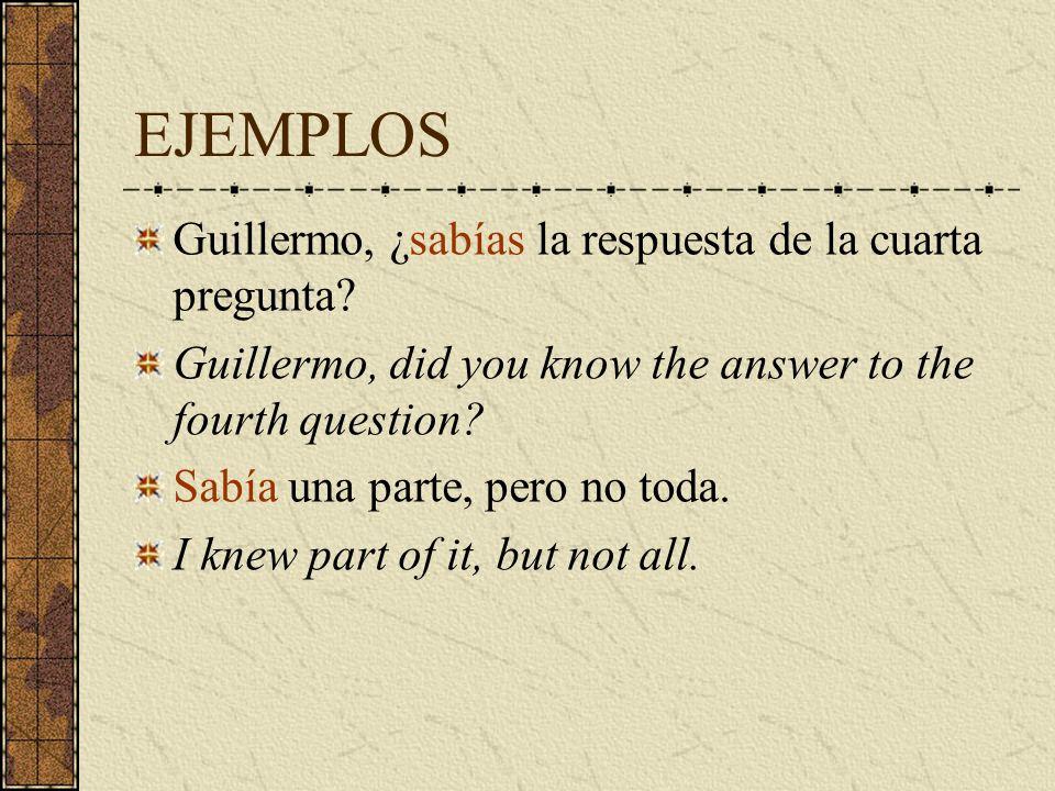 EJEMPLOS ¿ Cuánto tiempo estuvieron en España.How long were you in Spain.