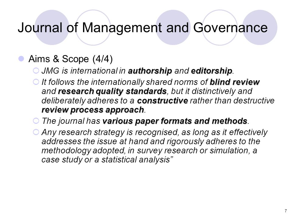 7 Journal of Management and Governance Aims & Scope (4/4) authorshipeditorship  JMG is international in authorship and editorship.