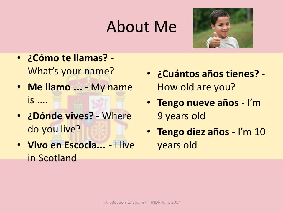 About Me ¿Cómo te llamas. - What's your name. Me llamo...