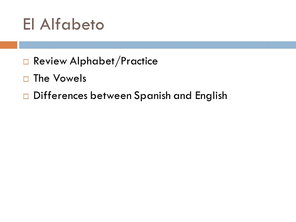 El Alfabeto  Review Alphabet/Practice  The Vowels  Differences between Spanish and English