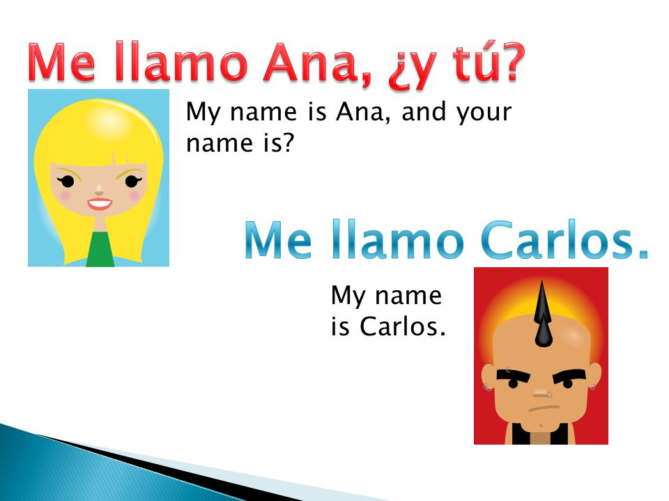 My name is Ana, and your name is? My name is Carlos.