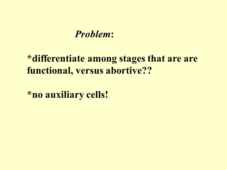 Problem: *differentiate among stages that are are functional, versus abortive?.