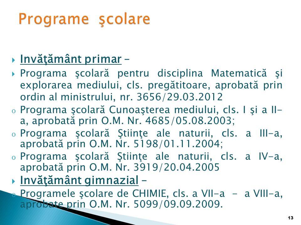  Invăţământ primar –  Programa şcolară pentru disciplina Matematică şi explorarea mediului, cls.