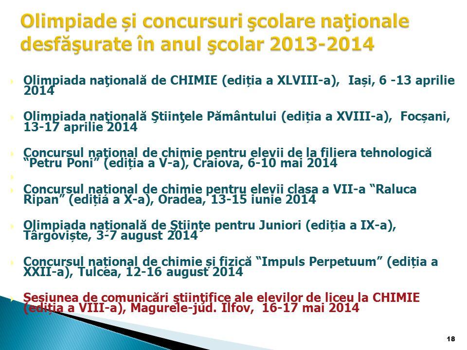  Olimpiada naţională de CHIMIE (ediția a XLVIII-a), Iași, 6 -13 aprilie 2014  Olimpiada naţională Ştiinţele Pământului (ediția a XVIII-a), Focșani, 13-17 aprilie 2014  Concursul național de chimie pentru elevii de la filiera tehnologică Petru Poni (ediția a V-a), Craiova, 6-10 mai 2014   Concursul național de chimie pentru elevii clasa a VII-a Raluca Ripan (ediția a X-a), Oradea, 13-15 iunie 2014  Olimpiada națională de Ştiinţe pentru Juniori (ediția a IX-a), Târgoviște, 3-7 august 2014  Concursul național de chimie și fizică Impuls Perpetuum (ediția a XXII-a), Tulcea, 12-16 august 2014  Sesiunea de comunicări ştiinţifice ale elevilor de liceu la CHIMIE (ediția a VIII-a), Magurele-jud.