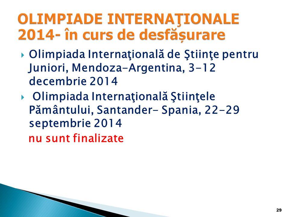  Olimpiada Internaţională de Ştiinţe pentru Juniori, Mendoza-Argentina, 3-12 decembrie 2014  Olimpiada Internaţională Ştiinţele Pământului, Santander- Spania, 22-29 septembrie 2014 nu sunt finalizate 29