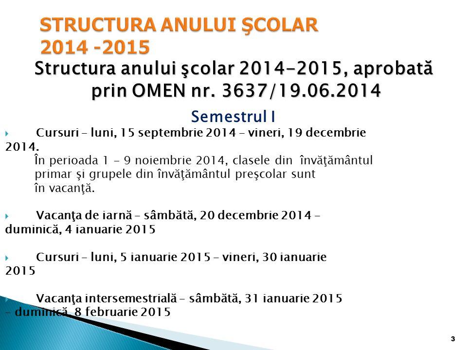 Structura anului şcolar 2014-2015, aprobată prin OMEN nr.