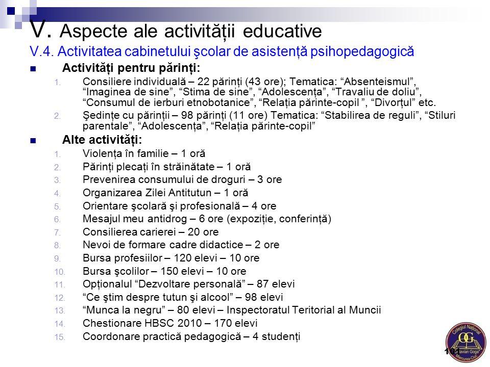 """Activităţi pentru părinţi: 1. Consiliere individuală – 22 părinţi (43 ore); Tematica: """"Absenteismul"""", """"Imaginea de sine"""", """"Stima de sine"""", """"Adolescenţ"""