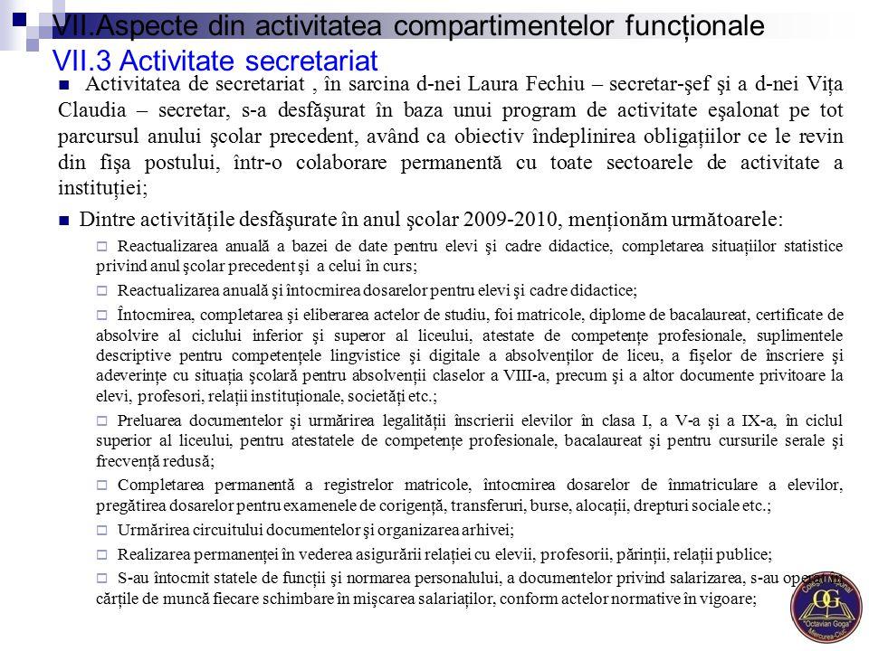 VII.Aspecte din activitatea compartimentelor funcţionale VII.3 Activitate secretariat Activitatea de secretariat, în sarcina d-nei Laura Fechiu – secr