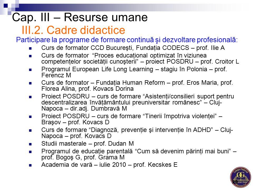 Cap. III – Resurse umane Participare la programe de formare continuă şi dezvoltare profesională: Curs de formator CCD Bucureşti, Fundaţia CODECS – pro