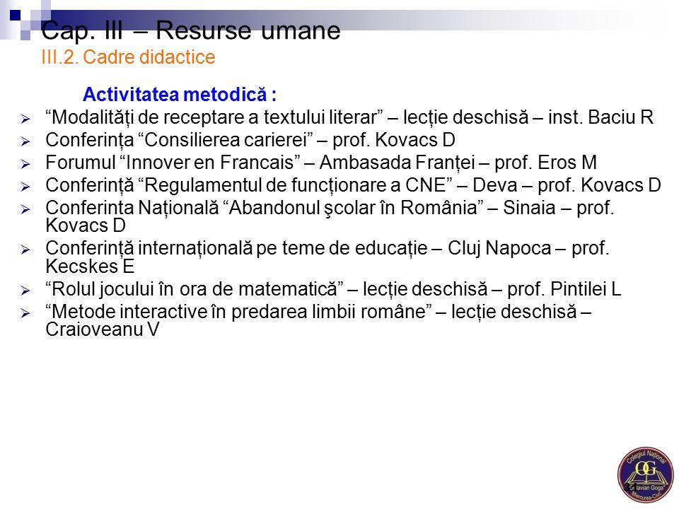 """Cap. III – Resurse umane III.2. Cadre didactice Activitatea metodică :  """"Modalităţi de receptare a textului literar"""" – lecţie deschisă – inst. Baciu"""