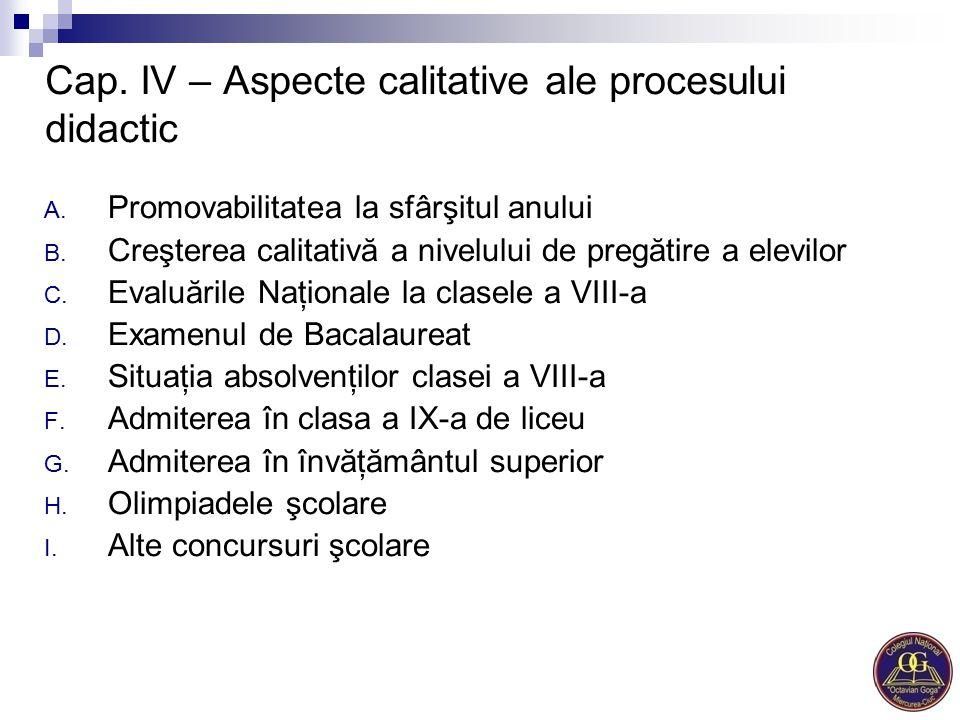 Cap. IV – Aspecte calitative ale procesului didactic A. Promovabilitatea la sfârşitul anului B. Creşterea calitativă a nivelului de pregătire a elevil