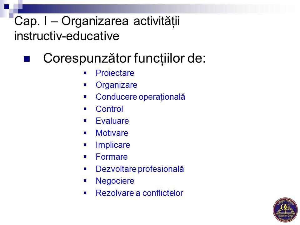 Cap. I – Organizarea activităţii instructiv-educative Corespunzător funcţiilor de:  Proiectare  Organizare  Conducere operaţională  Control  Eval