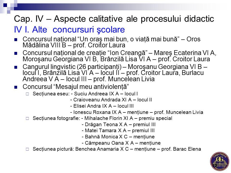"""Cap. IV – Aspecte calitative ale procesului didactic IV I. Alte concursuri şcolare Concursul naţional """"Un oraş mai bun, o viaţă mai bună"""" – Oros Mădăl"""