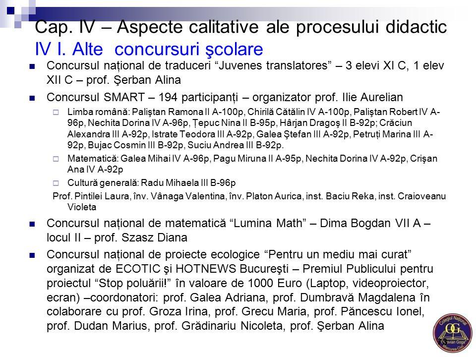 """Cap. IV – Aspecte calitative ale procesului didactic IV I. Alte concursuri şcolare Concursul naţional de traduceri """"Juvenes translatores"""" – 3 elevi XI"""