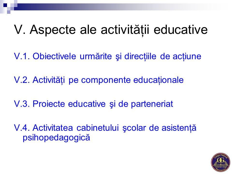 V. Aspecte ale activităţii educative V.1. Obiectivele urmărite şi direcţiile de acţiune V.2. Activităţi pe componente educaţionale V.3. Proiecte educa