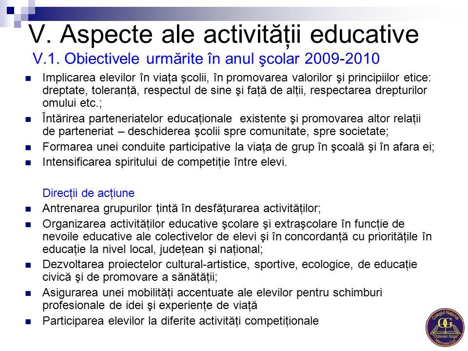 V. Aspecte ale activităţii educative V.1. Obiectivele urmărite în anul şcolar 2009-2010 Implicarea elevilor în viaţa şcolii, în promovarea valorilor ş
