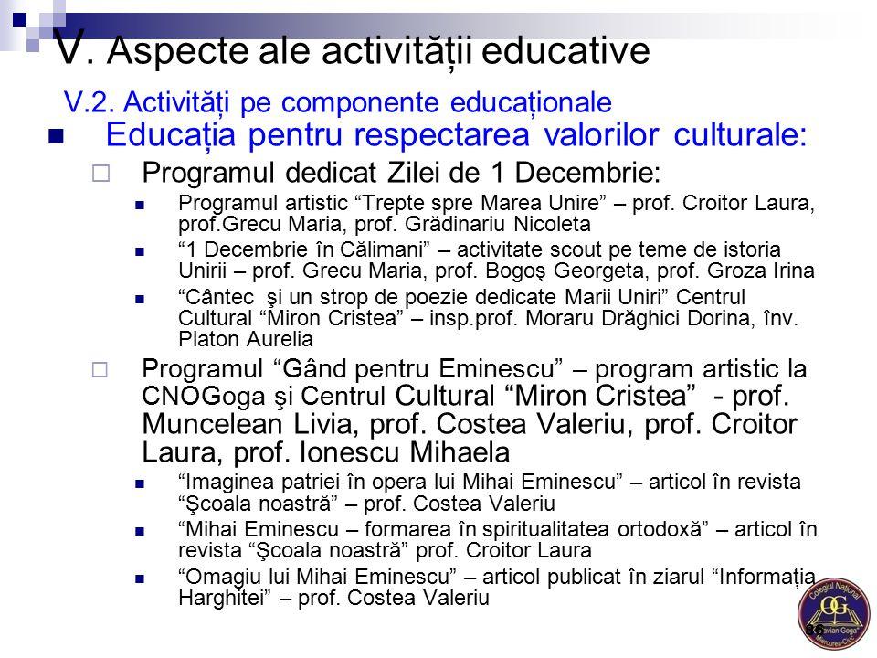 V. Aspecte ale activităţii educative V.2. Activităţi pe componente educaţionale Educaţia pentru respectarea valorilor culturale:  Programul dedicat Z