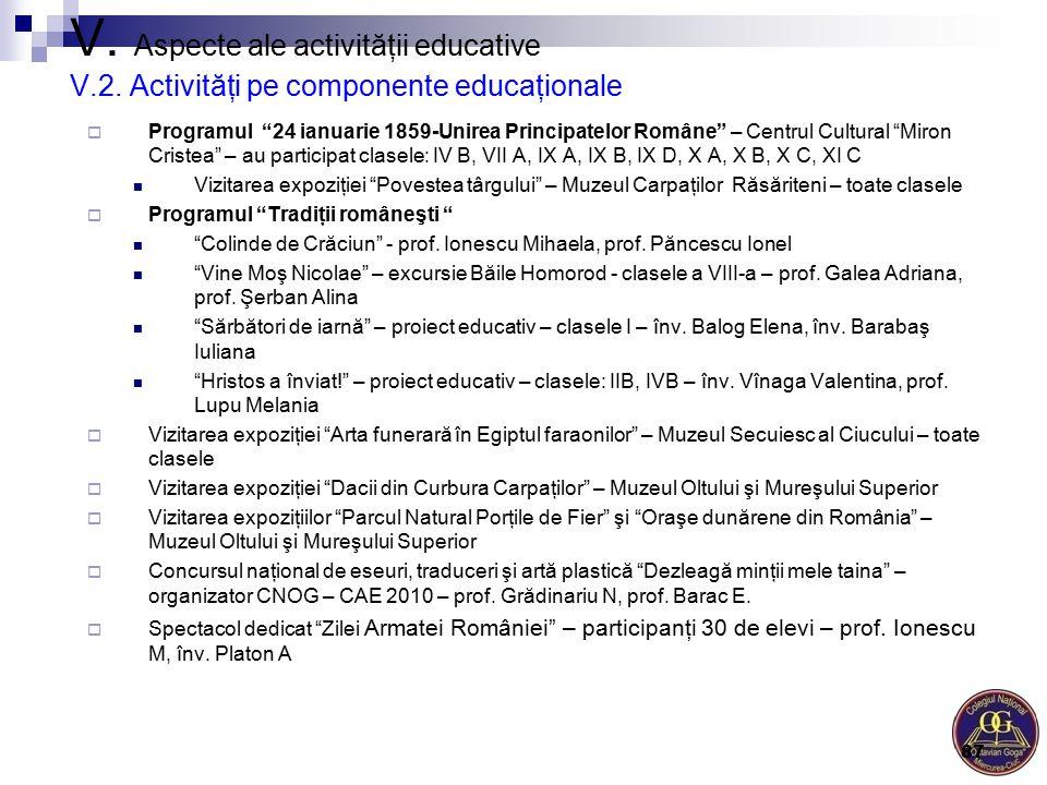 """V. Aspecte ale activităţii educative V.2. Activităţi pe componente educaţionale  Programul """"24 ianuarie 1859-Unirea Principatelor Române"""" – Centrul C"""