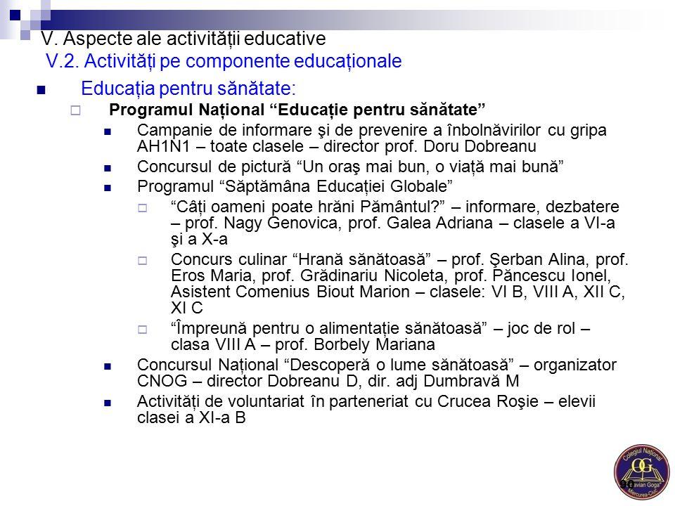 """V. Aspecte ale activităţii educative V.2. Activităţi pe componente educaţionale Educaţia pentru sănătate:  Programul Naţional """"Educaţie pentru sănăta"""