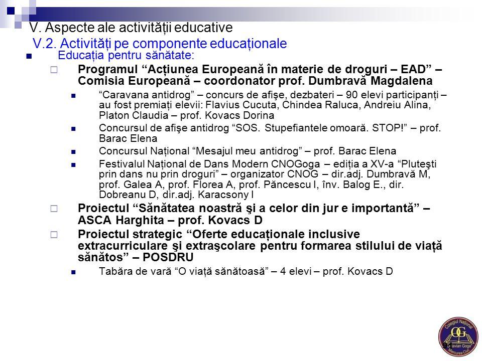"""V. Aspecte ale activităţii educative V.2. Activităţi pe componente educaţionale Educaţia pentru sănătate:  Programul """"Acţiunea Europeană în materie d"""