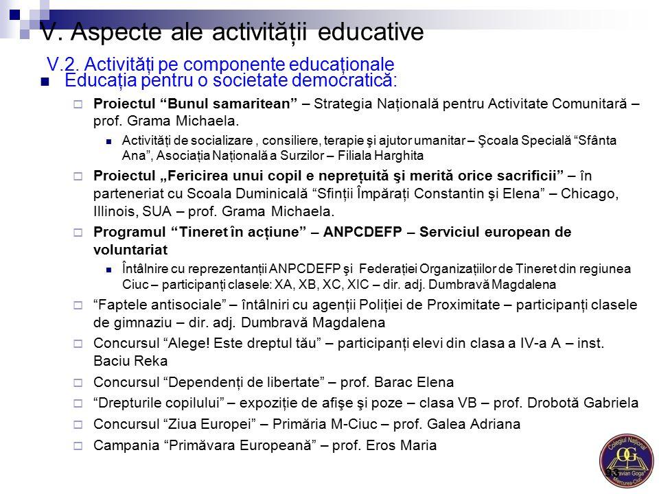 """V. Aspecte ale activităţii educative V.2. Activităţi pe componente educaţionale Educaţia pentru o societate democratică:  Proiectul """"Bunul samaritean"""