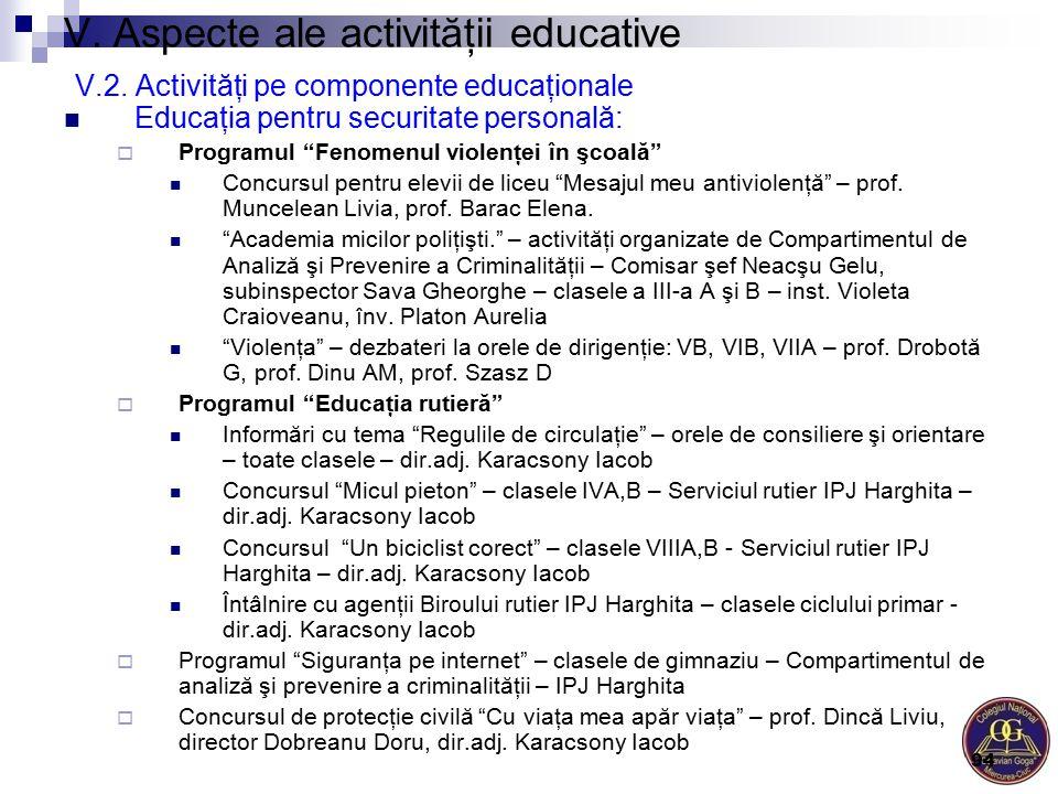 """V. Aspecte ale activităţii educative V.2. Activităţi pe componente educaţionale Educaţia pentru securitate personală:  Programul """"Fenomenul violenţei"""