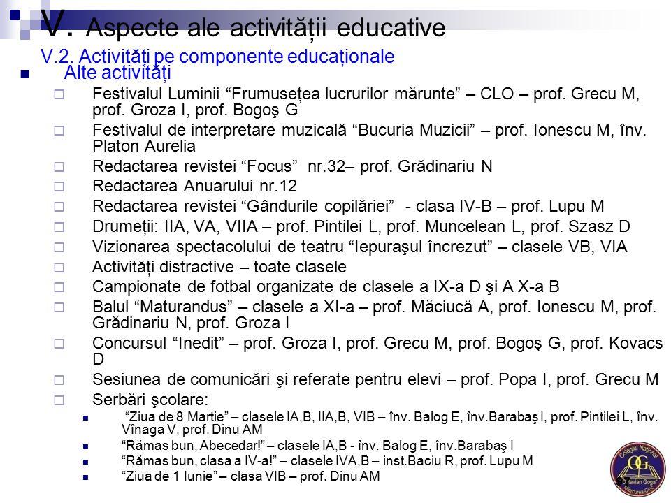 """V. Aspecte ale activităţii educative V.2. Activităţi pe componente educaţionale Alte activităţi  Festivalul Luminii """"Frumuseţea lucrurilor mărunte"""" –"""