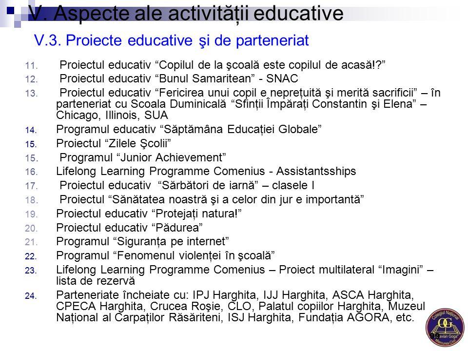 """V. Aspecte ale activităţii educative V.3. Proiecte educative şi de parteneriat 11. Proiectul educativ """"Copilul de la şcoală este copilul de acasă!?"""" 1"""