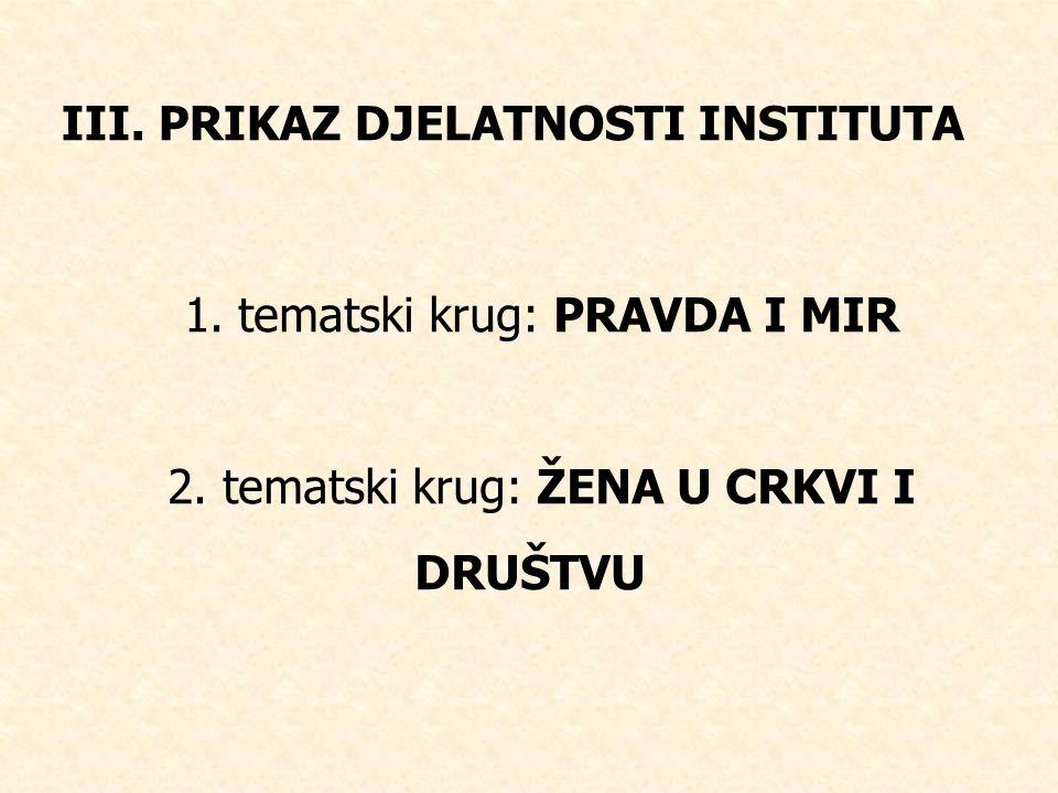 III.PRIKAZ DJELATNOSTI INSTITUTA 1. tematski krug: PRAVDA I MIR 2.