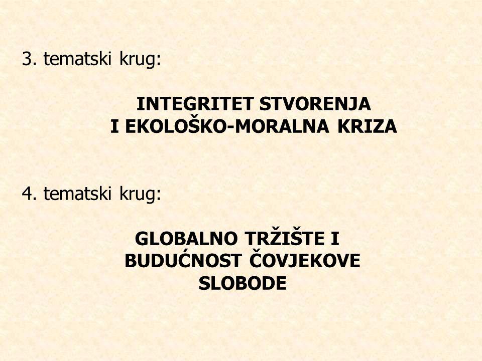 3.tematski krug: INTEGRITET STVORENJA I EKOLOŠKO-MORALNA KRIZA 4.