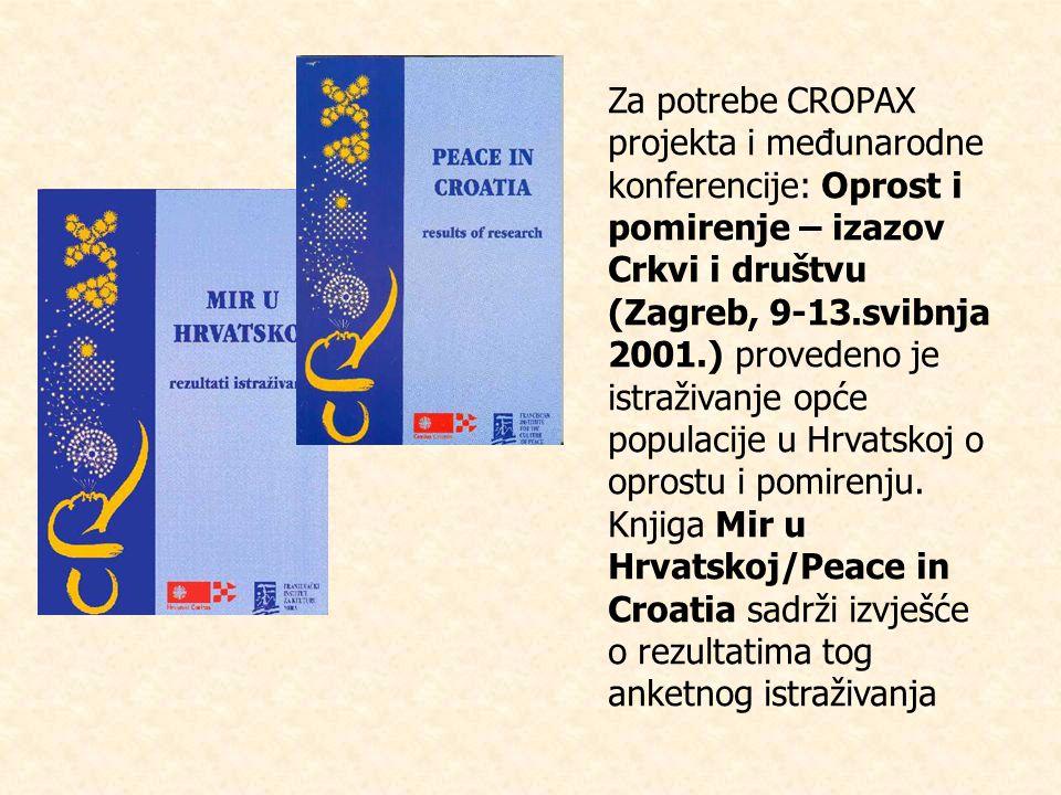 Za potrebe CROPAX projekta i međunarodne konferencije: Oprost i pomirenje – izazov Crkvi i društvu (Zagreb, 9-13.svibnja 2001.) provedeno je istraživanje opće populacije u Hrvatskoj o oprostu i pomirenju.