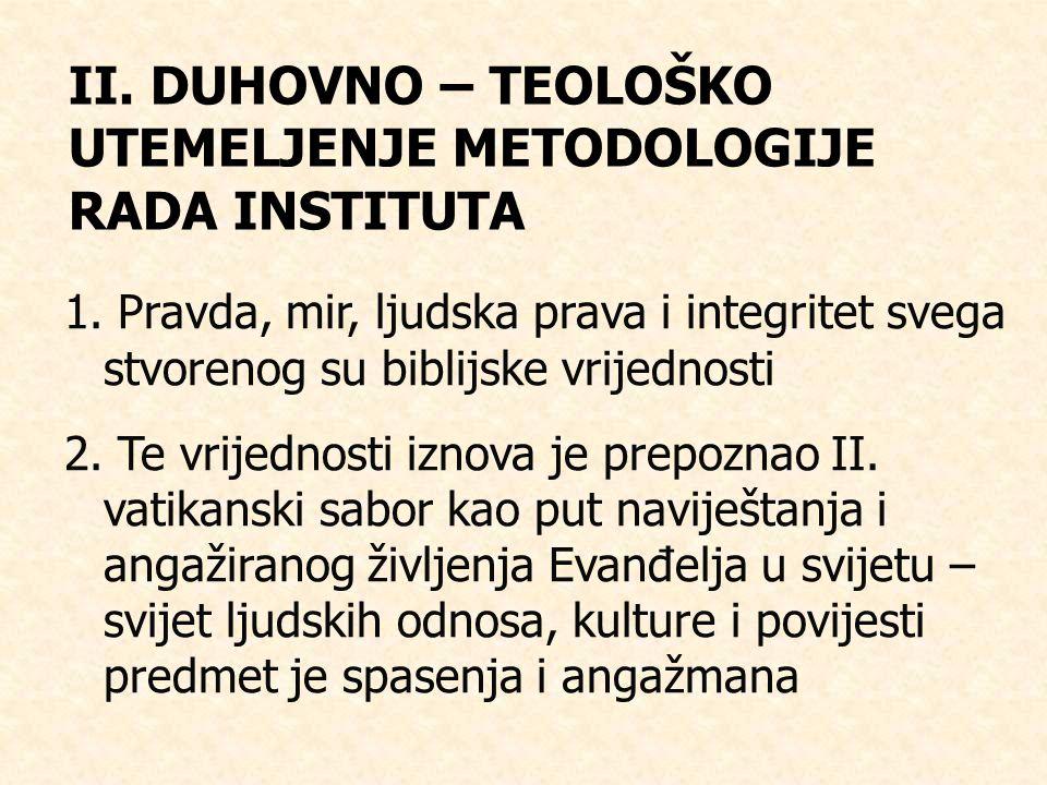 II.DUHOVNO – TEOLOŠKO UTEMELJENJE METODOLOGIJE RADA INSTITUTA 1.