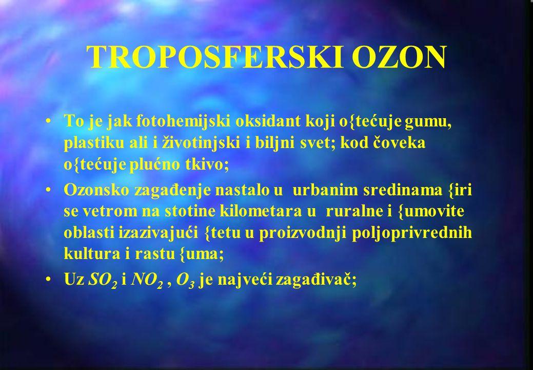 ATMOSFERSKI OZON Ozon se nalazi u dve oblasti Zemljine atmosfere Većina (oko 90%) nalazi se u stratosferi i naziva se OZONSKI SLOJ Preostali ozon nala