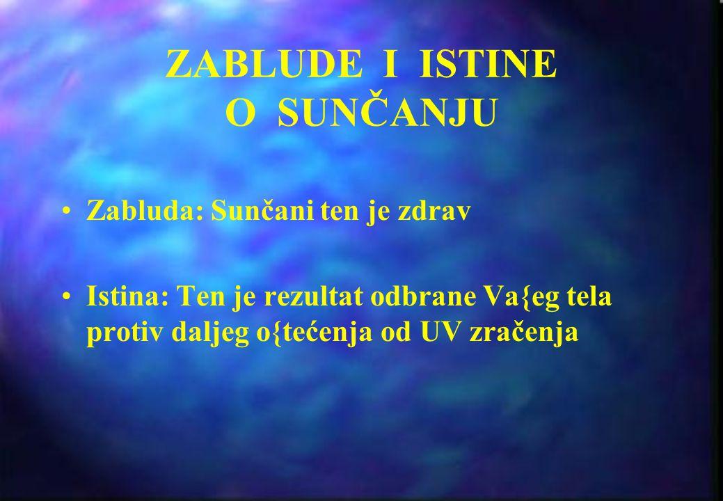 SAVETI ZA IZLAGANJE SUNCU Potražite hladovinu (kada je Va{a senka veća od Vas - UV nivo je nizak, ako je senka kraća od Vas - potražite hladovinu!) Za