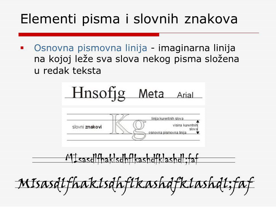 Elementi pisma i slovnih znakova  Osnovna pismovna linija - imaginarna linija na kojoj leže sva slova nekog pisma složena u redak teksta MIsasdlfhaklsdhflkashdfklashdl;faf