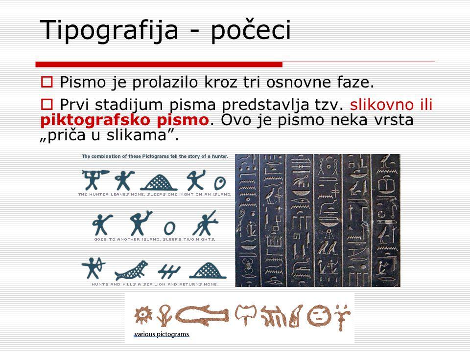 Tipografija - počeci  Pismo je prolazilo kroz tri osnovne faze.